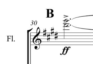Treble clef of bar 30 of Morning Mood.